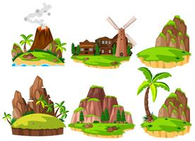 Set van verschillende eilanden vector