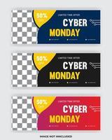 cyber maandag verkoop facebook omslagbanner. postsjabloon voor sociale media vector