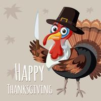 Turkije op thanksgiving-sjabloon vector
