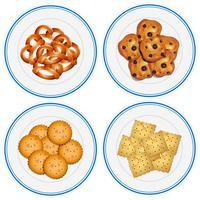 Vier kinderen op snacks op de platen vector