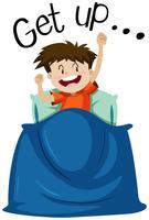 Wordcard om op te staan met opstaan van de jongen