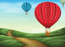 Hete luchtballon in de lucht vector