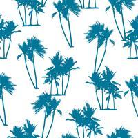 Naadloos exotisch patroon met palmensilhouetten.