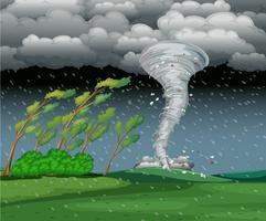 Cycloon in de regenachtige storm