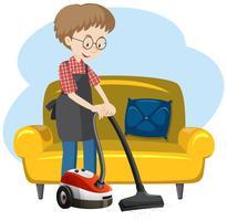 Een man die het huis schoonmaakt vector