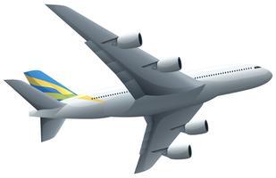Vliegtuig die op witte achtergrond vliegen