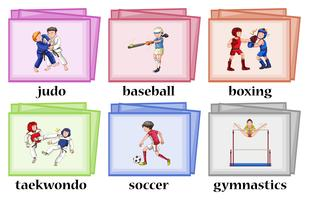 Wordcards voor zes verschillende sporten vector