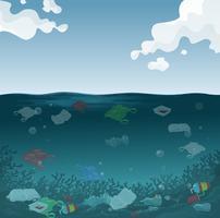 Een mariene verontreinigingsachtergrond vector