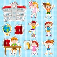 Sticker met studenten en school wordt geplaatst die