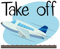 Wordcard voor opstijgen met opstijgend vliegtuig vector