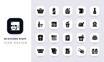 minimaal plat keukengerei icon pack. vector