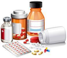 Een set medicijnen en een recept vector