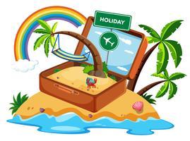 Koffer in vakantie pictogram vector