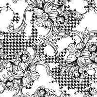 Eclectische weefsel geruite naadloze patroon met barokke ornament. vector