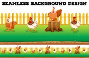 Naadloze achtergrond met kippen op de boerderij