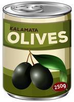Een tand van kalamata zwarte olijven