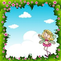 Grensontwerp met feeën en bloemen