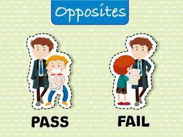 Tegenovergestelde woorden voor pass en fail