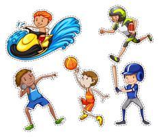 Sticker die met mensen wordt geplaatst die sport doen