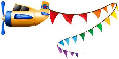 Vliegtuig vliegt met kleurrijke vlaggen