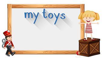 Grens sjabloon met meisje en speelgoed vector