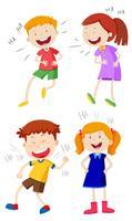 Een reeks kinderen lachen