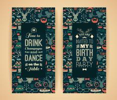 Gelukkige verjaardagsuitnodiging, uitstekende retro achtergrond met hipster vector