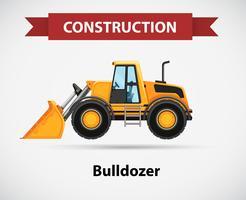 Bouw pictogram met bulldozer vector