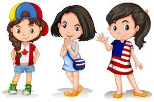 Drie meisjes uit verschillende landen vector