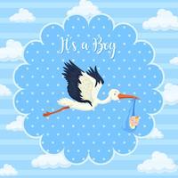 Storkbaby op blauwe achtergrond
