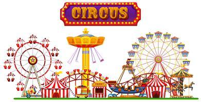 Een circus-kermis op witte achtergrond