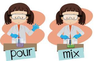 Woorden gieten en mengen met meisje bezig met experiment