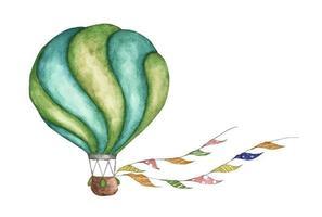 groene heteluchtballon met vlaggenslingers. aquarel illustratie. vector