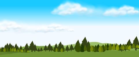 Aardscène met groen gebied