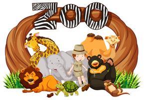 Zookeeper en wilde dieren bij dierentuiningang vector