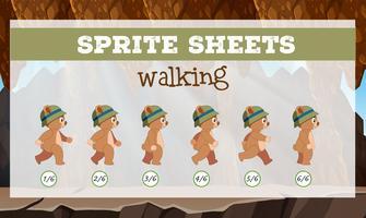 sprite sheet bear walking