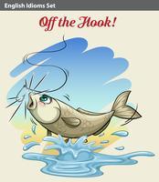 Een vis die gepakt wordt