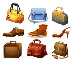 Schoenen en tassen vector