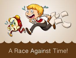 Man racen tegen klok vector
