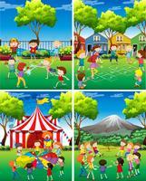 Vier scène van kinderen die in het park spelen