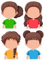 Set van brunette vrouwelijke personage