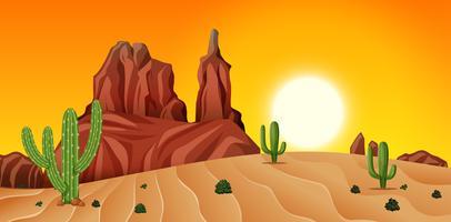 Woestijnscène bij zonsondergang vector