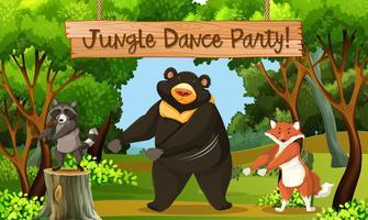 Jungle dance park scène vector