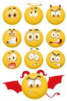 Gele ballen met gezichtsuitdrukkingen vector