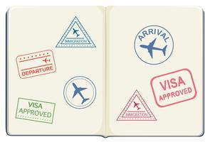 Binnenkant van een paspoort vector