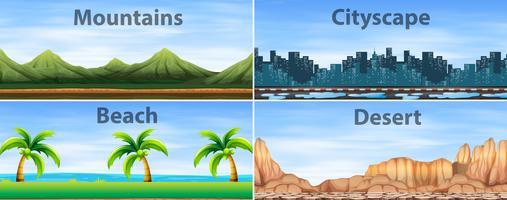 Vier achtergrondtaferelen van verschillende plaatsen vector