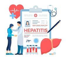 medische diagnose - hepatitis. concept van hepatitis a, b, c, d, vector