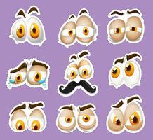 Stickerontwerp met gezichtsuitdrukkingen vector