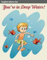 Een jongen in diep water