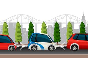 Elektrische auto in de stad vector